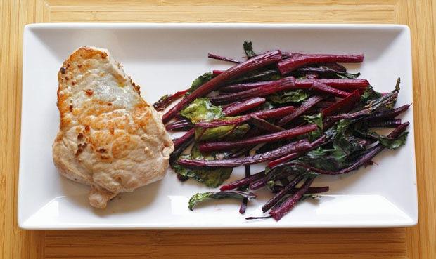 Stuffed pork loin chops and beet tops