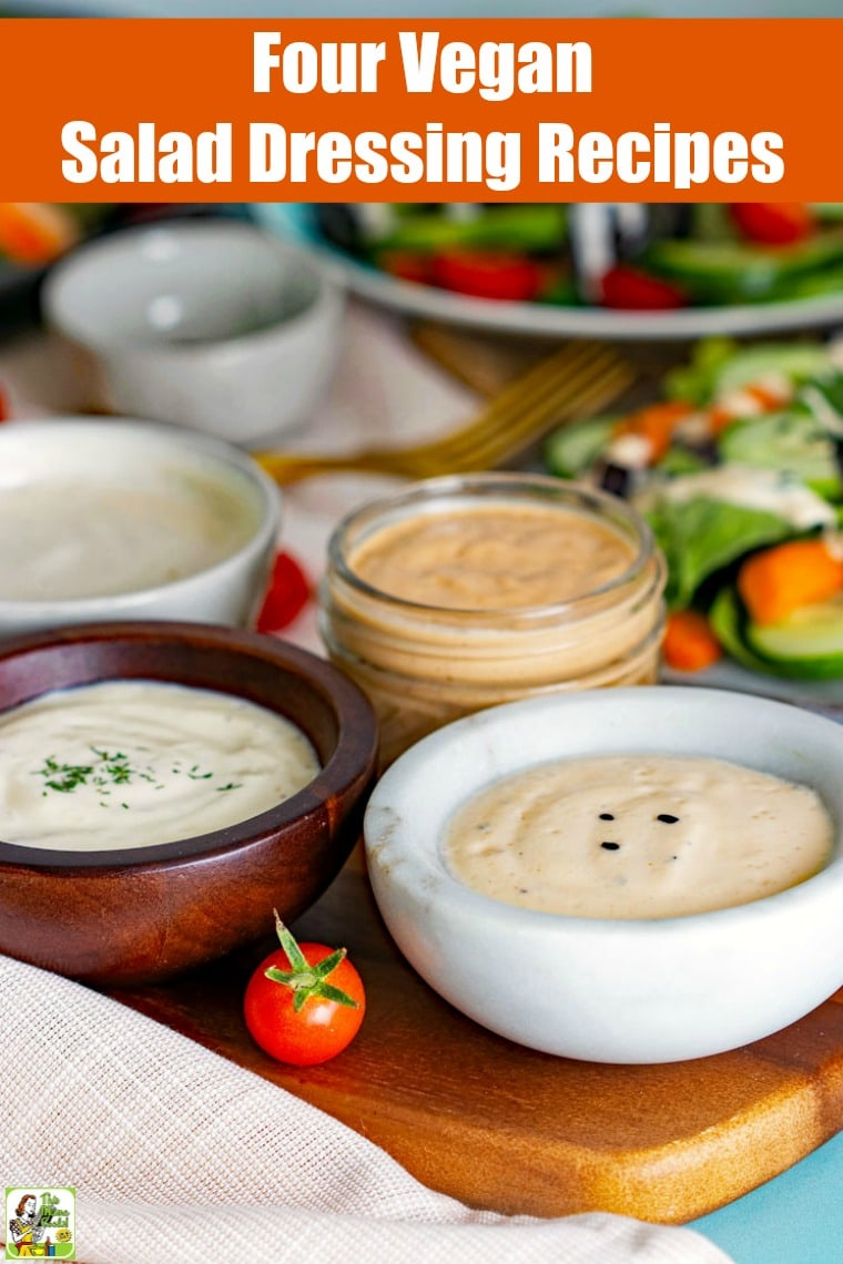 These easy vegan salad dressing recipes are dairy-free and sugar-free. In your blender, you can make these four vegan salad dressings with soft tofu, vinegar, oil plus a few more ingredients. #veganfood #vegan #veganrecipes #recipes #easy #recipeoftheday #easyrecipe #easyrecipes #dairyfree #sugarfree #tofu