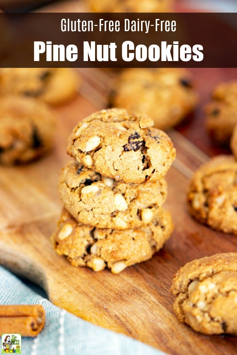 These Gluten-Free Dairy-Free Pine Nut Cookies are easy to make. This gluten-free dairy-free cookie recipe is baked with gluten-free oat flour, brown rice flour, quick-cooking rolled oats, raisins, and sweetened with stevia. #recipes #easy #recipeoftheday #glutenfree #easyrecipe #easyrecipes #glutenfreerecipes #snacks #desserts #dessertrecipes #dessertideas #baking #sugarfree #sugarfreerecipes #dairyfree #cookies #cookierecipes