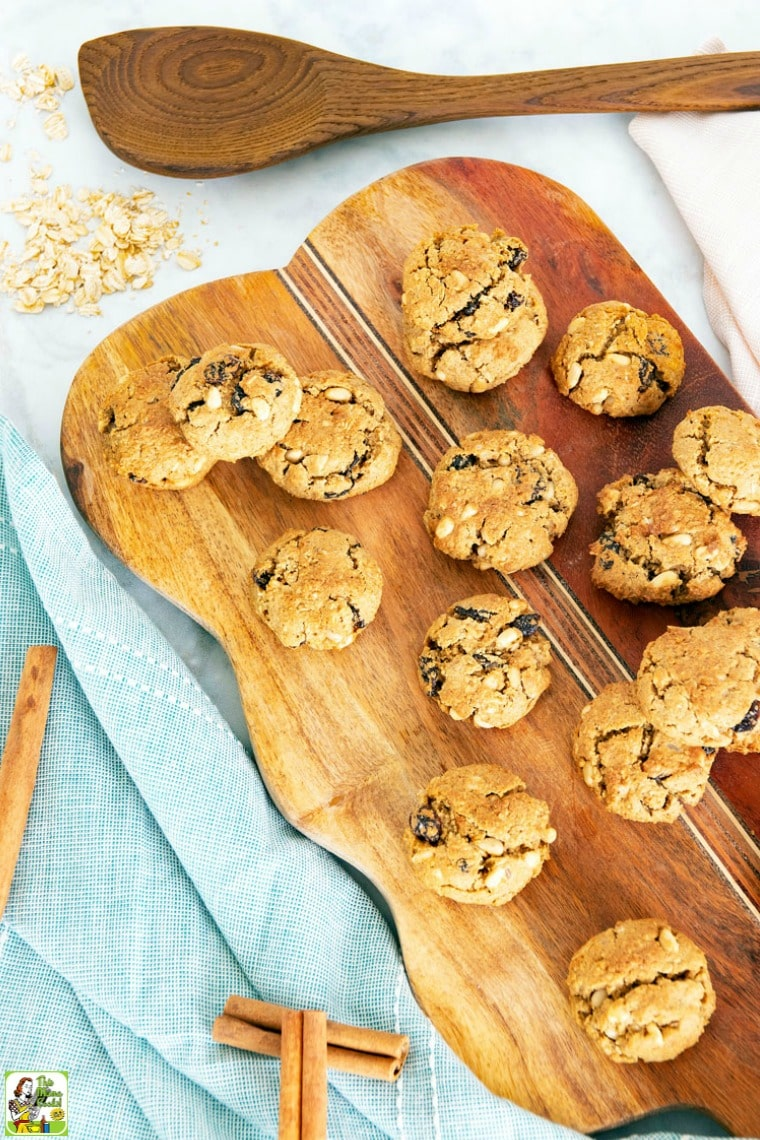 This gluten-free dairy-free cookie recipe is baked with gluten-free oat flour, brown rice flour, quick-cooking rolled oats, and raisins.
