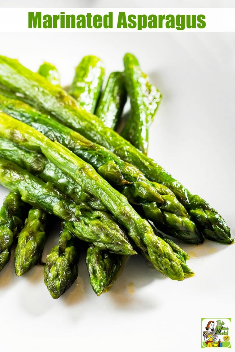 Marinated Asparagus is a roasted asparagus recipe with a delicious marinade made with wholesome rice vinegar. It's the perfect springtime side dish for Easter brunch or dinner. #recipes #easy #recipeoftheday #glutenfree #easyrecipe #easyrecipes #glutenfreerecipes #asparagus #sidedish