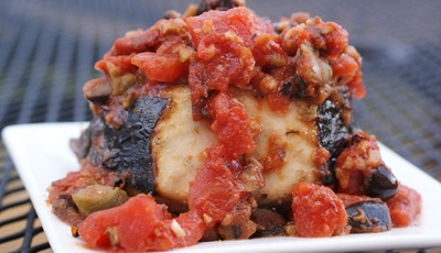 Grilled Wahoo with Tomatoes and Olives
