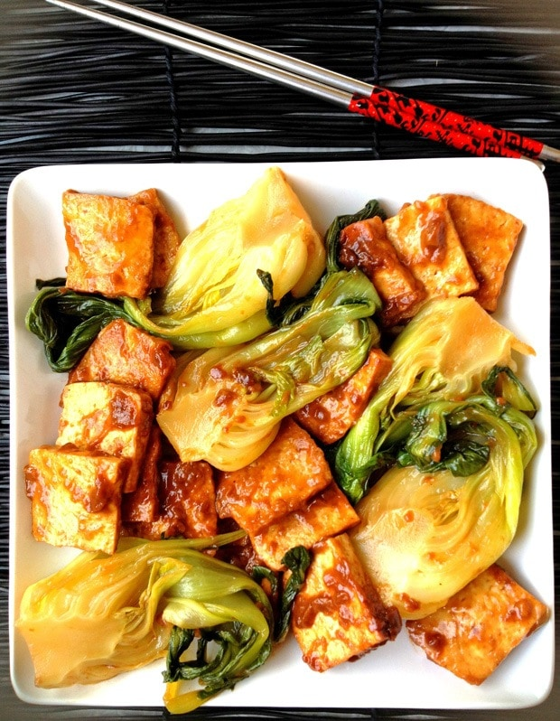Baby Bok Choy Tofu Bourbon Sauce at This Mama Cooks! On a Diet - thismamacooks.com