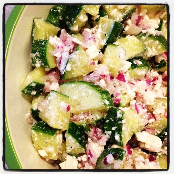 Cucumber, Feta and Red Onion Salad at This Mama Cooks! On a Diet - thismamacooks.com