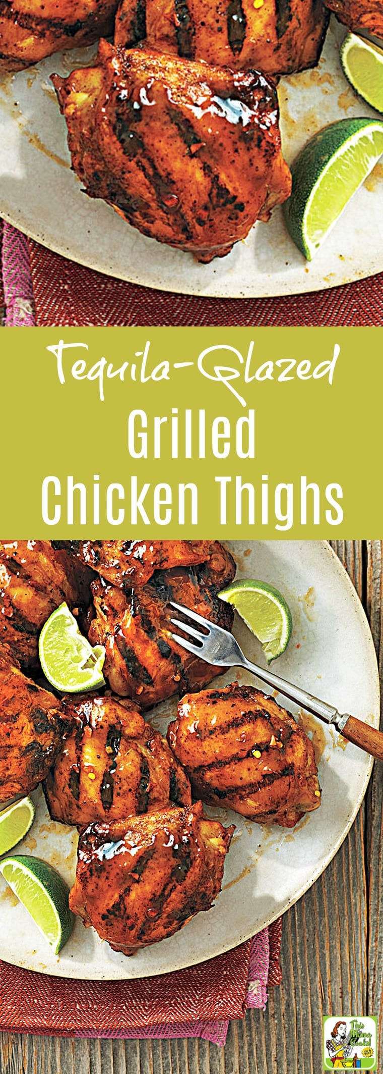 Looking for the best grilled chicken thigh recipe? Click to get this Tequila-Glazed Grilled Chicken Thighs recipe. This grilled skinless boneless chicken thighs recipe is naturally gluten free and easy to make for weeknight dinners or your next cookout grilling party.