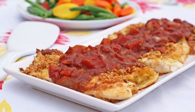 Crispy Breaded Tilapia with Balsamic Tomato Sauce
