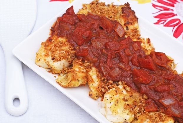 Crispy Breaded Tilapia with Balsamic Tomato Sauce at This Mama Cooks! On a Diet - thismamacooks.com