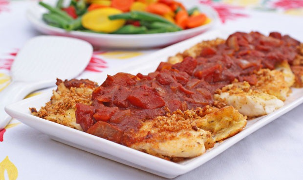 Crispy Breaded Tilapia with a Balsamic Tomato Sauce