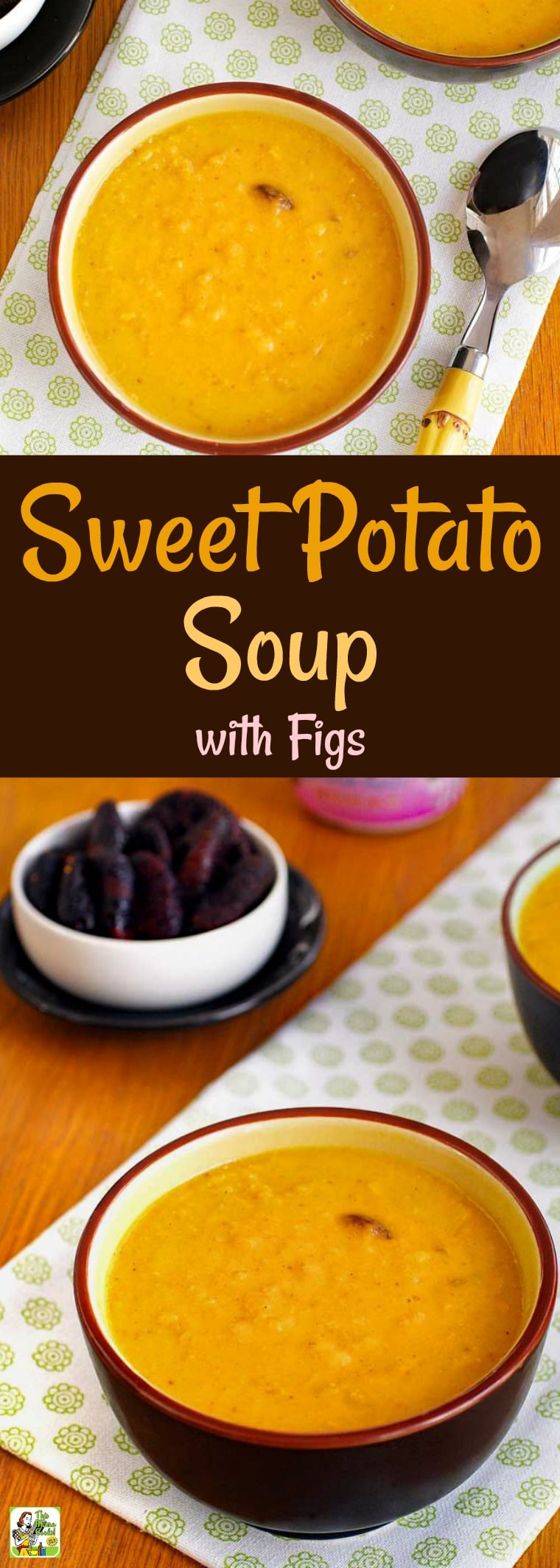 Pair this healthy, homemade sweet potato soup with a sandwich or salad for an easy weeknight dinner. This curry sweet potato soup recipe uses Greek yogurt and figs! (Don\'t like curry? Use Herbes de Provence instead.) This vegetarian sweet potato soup works for Meatless Monday, too! #recipe #easy #recipeoftheday #healthyrecipes #glutenfree #easyrecipes #sweetpotatoes #soup #vegetarian #meatlessmonday #yogurt #figs #healthy #healthysoup #homemadesoup