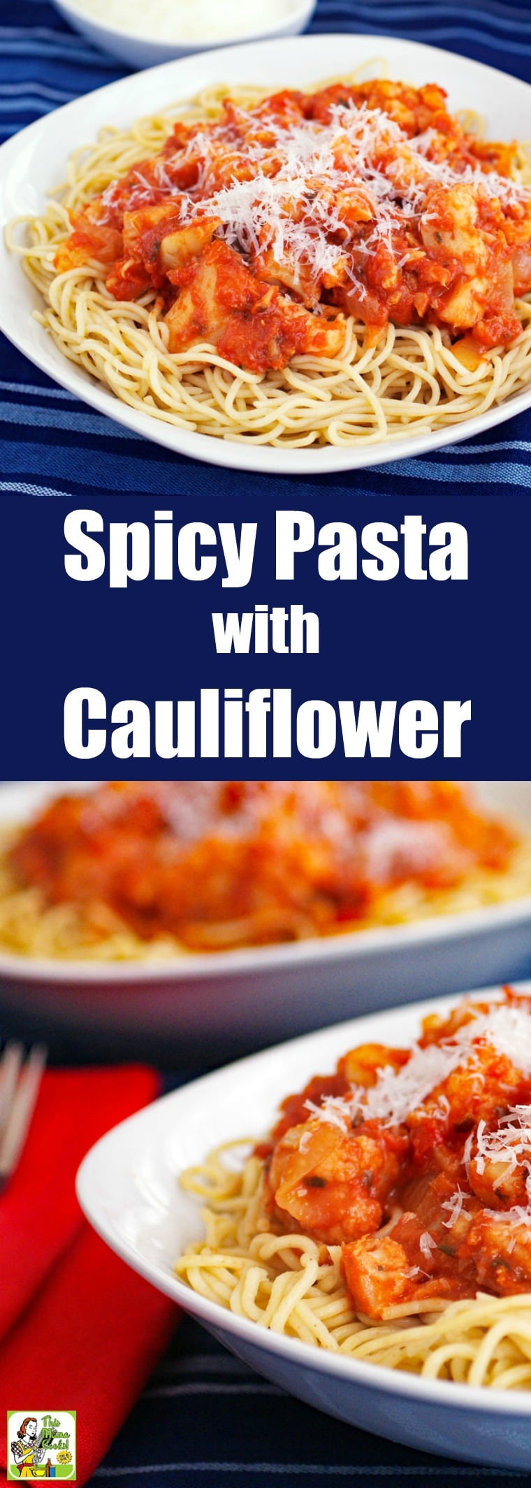 Spicy Pasta with Cauliflower is a vegetarian recipe and a wholesome alternative to meat sauce with spaghetti. This pasta with cauliflower dish is perfect for Meatless Mondays, too. Can be made with gluten-free pasta, high protein, whole wheat, or regular pasta. #recipes #easy #recipeoftheday #glutenfree #easyrecipe #easyrecipes #glutenfreerecipes #dinner #easydinner #dinnerrecipes #dinnerideas #pasta #cauliflower