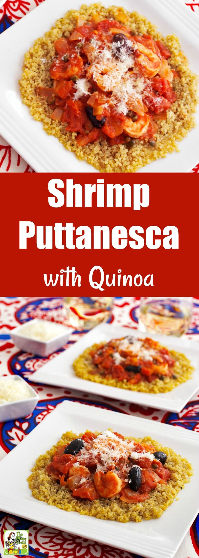 Shrimp Puttanesca can be made in 30 minutes. Based on spaghetti alla puttanesca, it's made with olives, tomatoes, garlic, capers, wine, and onions. To keep it gluten-free, it\'s served on quinoa, but you can dish up this quick and easy dinner recipe on to gluten-free pasta or whole wheat spaghetti. #recipes #easy #recipeoftheday #glutenfree #easyrecipe #easyrecipes #glutenfreerecipes #dinner #easydinner #dinnerrecipes #dinnerideas #pasta #quinoa #shrimp