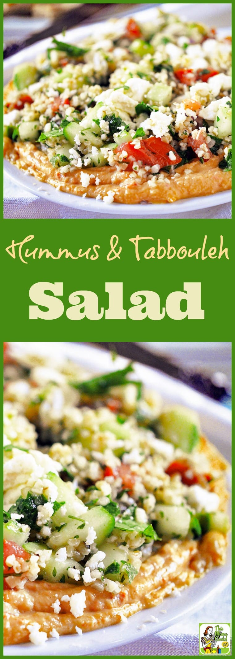 This Hummus & Tabbouleh Salad recipe can be used as a party appetizer or in a sandwich wrap. Comes with a gluten-free option using quinoa. Make this easy to make healthy hummus and feta cheese dip recipe for your next party! #partyfood #appetizers #appetizerseasy #recipes #easy #recipeoftheday #glutenfree #easyrecipe #easyrecipes #glutenfreerecipes #hummus #dip