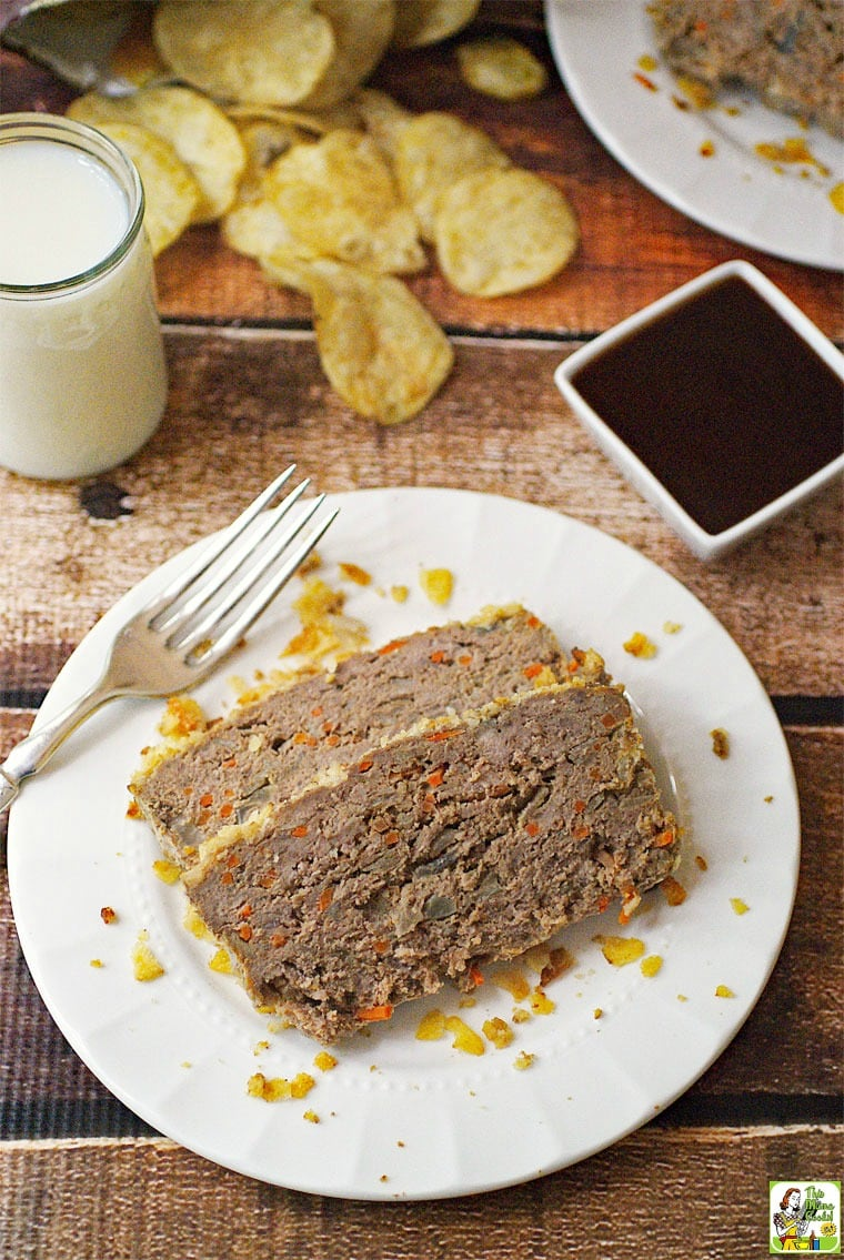 Easy Gluten Free Meatloaf with Potato Chips & Carrots