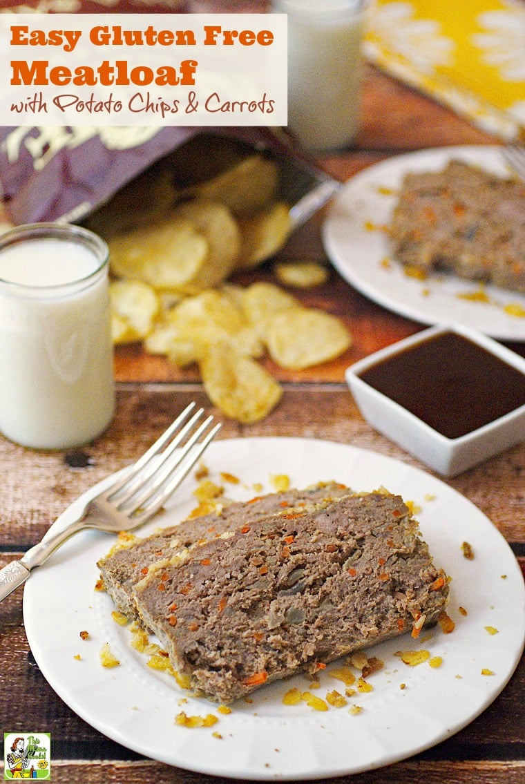 This Easy Gluten Free Meatloaf with Potato Chips & Carrots recipe is easy to make. Click to get this easy weeknight healthy gluten free meatloaf recipe.