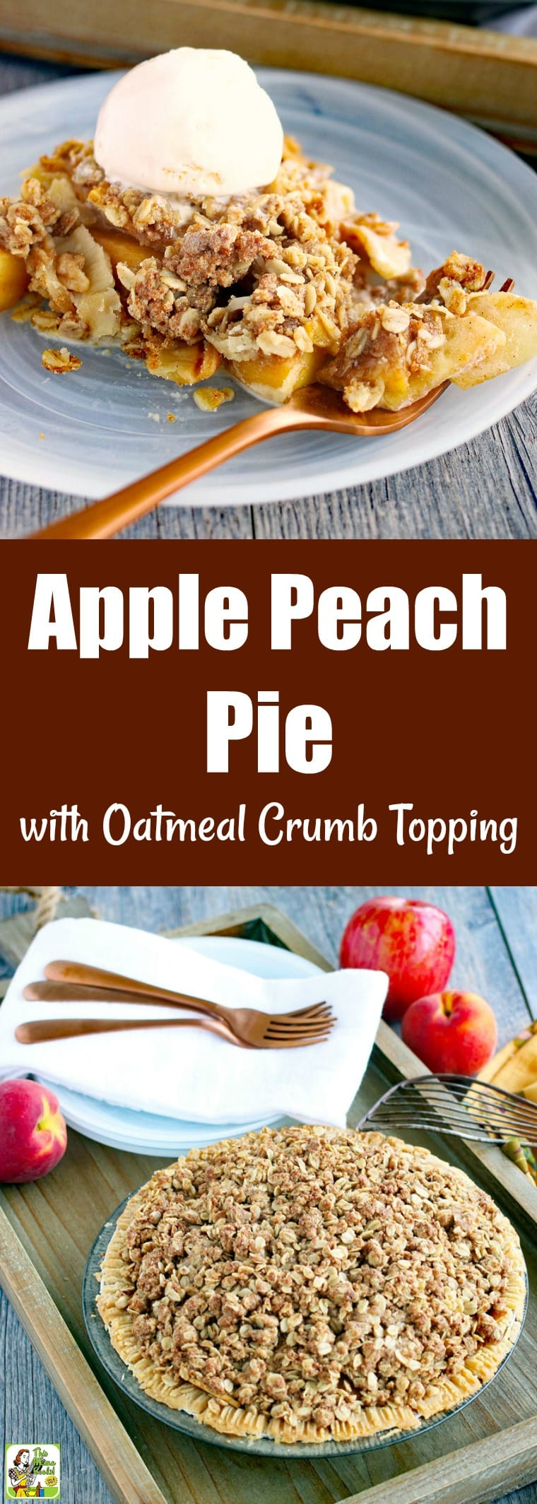 This Apple Peach Pie with Oatmeal Crumb Topping is a terrific dessert for using up fruit. With a simple crumb topping and store-bought crust, it comes together in no time. Gluten-free with vegan and dairy-free options. #recipes #easy #recipeoftheday #glutenfree #glutenfreerecipes #desserts #dessertrecipes #dessertideas #baking #pie #dairyfree #veganfood #vegan #veganrecipes #vegandesserts #apple #apples