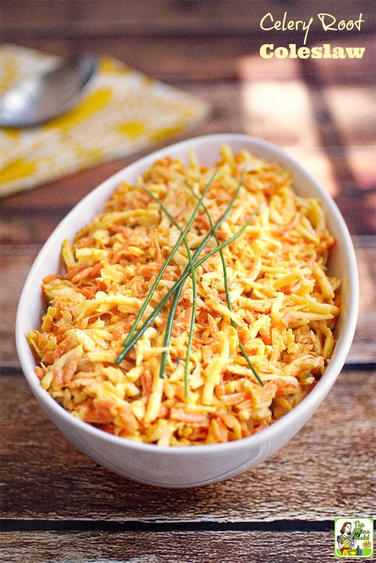 This Celery Root Coleslaw is gluten free, vegan, dairy free, and egg free. Click to get this easy to make healthy coleslaw recipe.