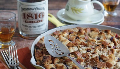 Cranberry & Coconut Bread Pudding with Chattanooga Whiskey Sauce