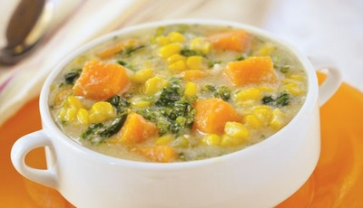 Chunky Corn Chowder with Kale and Sweet Potato