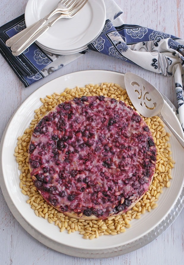 Gluten & Dairy Free Coffee Cake Topped with Berries & Pine Nuts from This Mama Cooks! On a Diet - thismamacooks.com