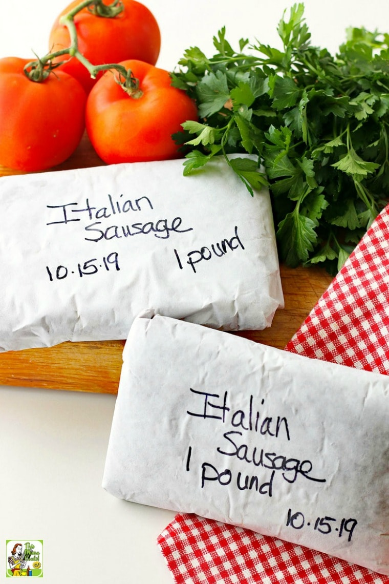 Packaged Italian sausage in butcher paper for freezing.