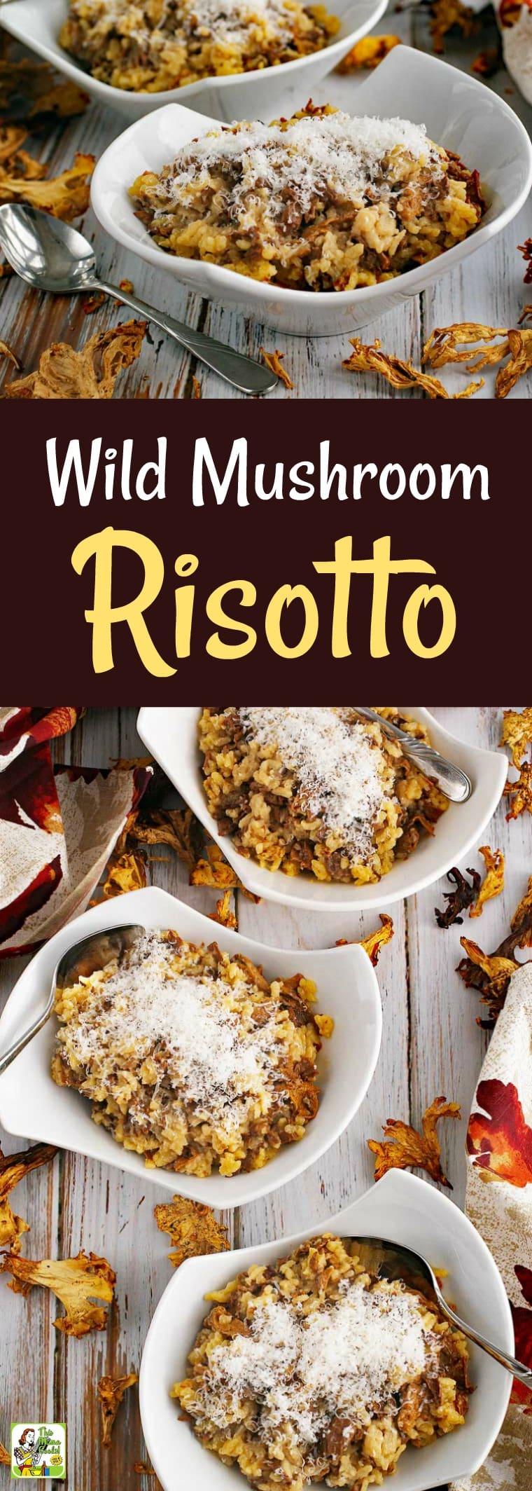 Searching for easy risotto recipes? Then you'll love this Wild Mushroom Risotto dish. My easy risotto doesn\'t have to be continuously stirred and can be made in about 30 minutes. This easy risotto recipe is also gluten-free and can be made dairy free. #risotto #mushrooms #glutenfree #dairyfree #under30 #quickandeasy #rice
