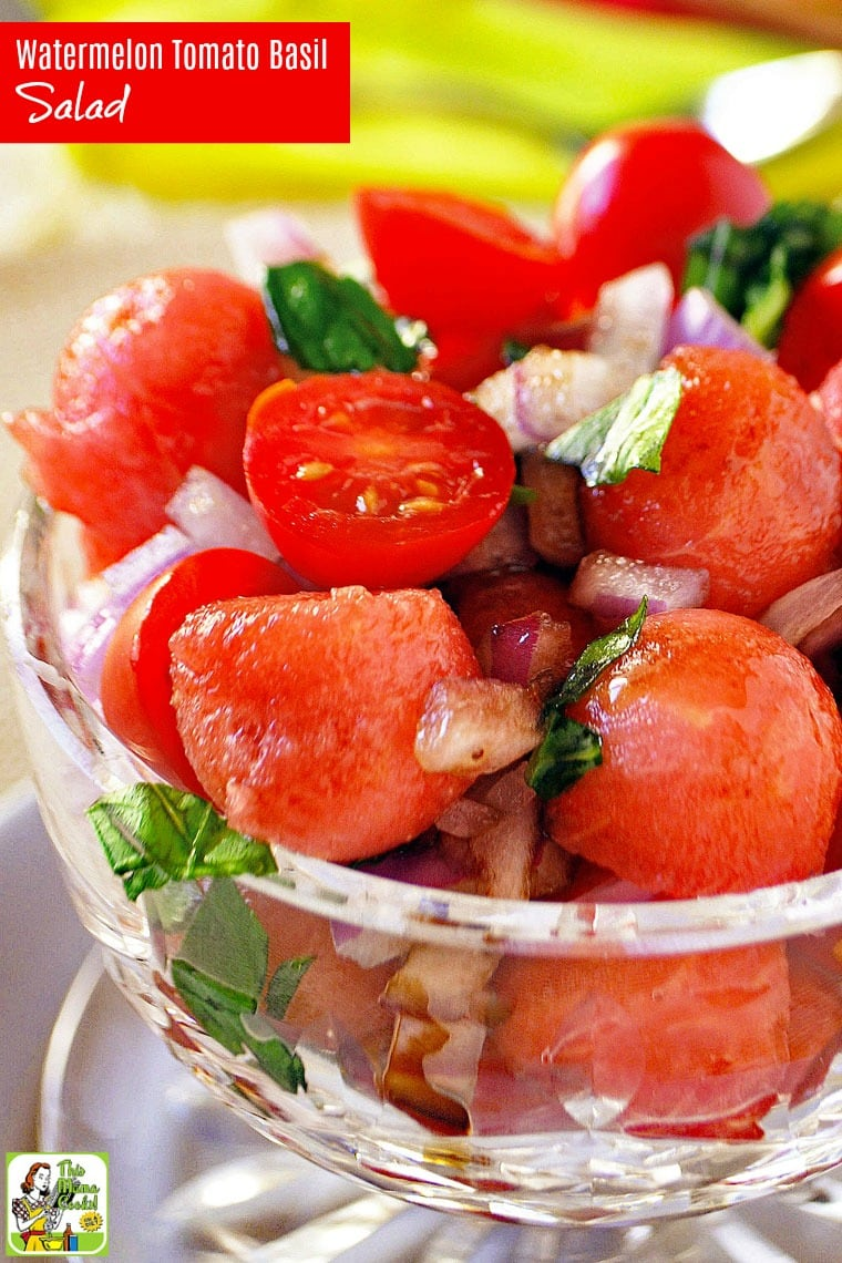 This Easy Watermelon Tomato Basil Salad recipe is ideal for summer cookouts or potlucks. Click to get this tomato basil salad recipe that is naturally gluten free, vegan, vegetarian, dairy free, and can be made in 20 minutes. #recipes #easy #recipeoftheday #healthyrecipes #glutenfree #easyrecipes #salad #saladrecipes #watermelon #watermelonrecipes #tomatoes #vegetarian #vegan #veganrecipes
