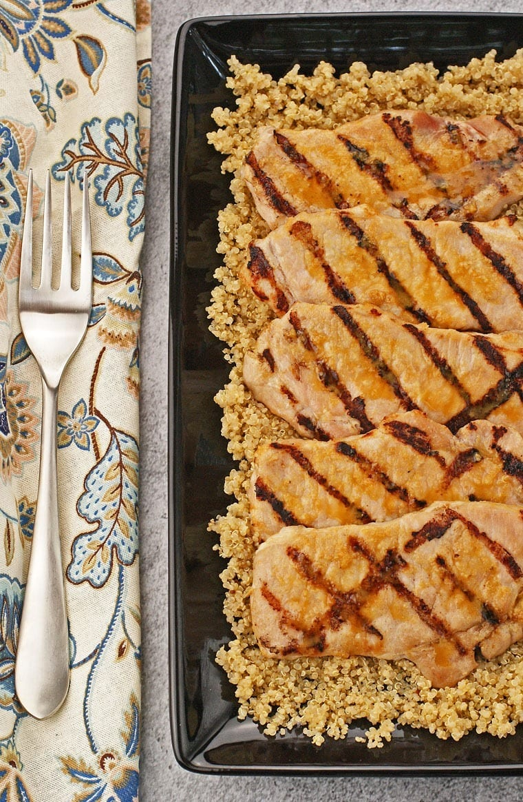 Gluten Free Miso Glazed Pork Chops with Miso Flavored Quinoa at This Mama Cooks! On a Diet - thismamacooks.com
