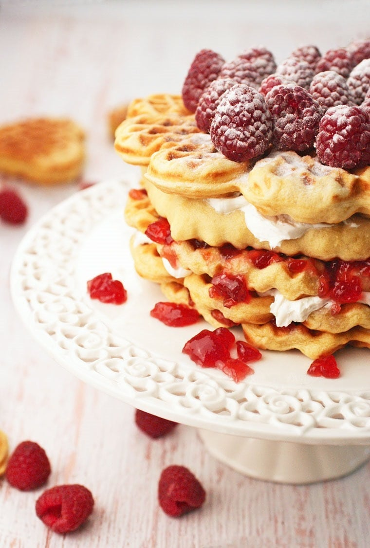 Make this for birthdays or special celebrations, like Mother's Day or baby showers! Gluten Free Waffle Cake at This Mama Cooks! On a Diet - thismamacooks.com