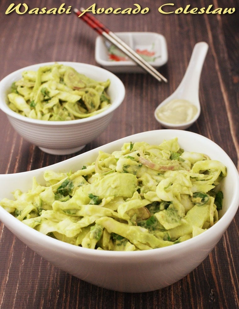 A gluten free coleslaw that packs a punch! Wasabi Avocado Coleslaw at This Mama Cooks! On a Diet - thismamacooks.com