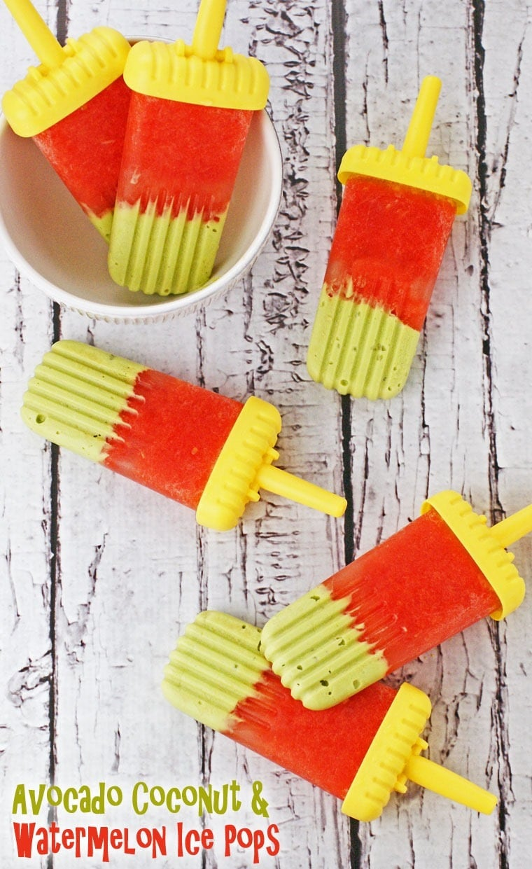 Easy to make and sugar free Avocado Coconut & Watermelon Ice Pops at This Mama Cooks! On a Diet - thismamacooks.com