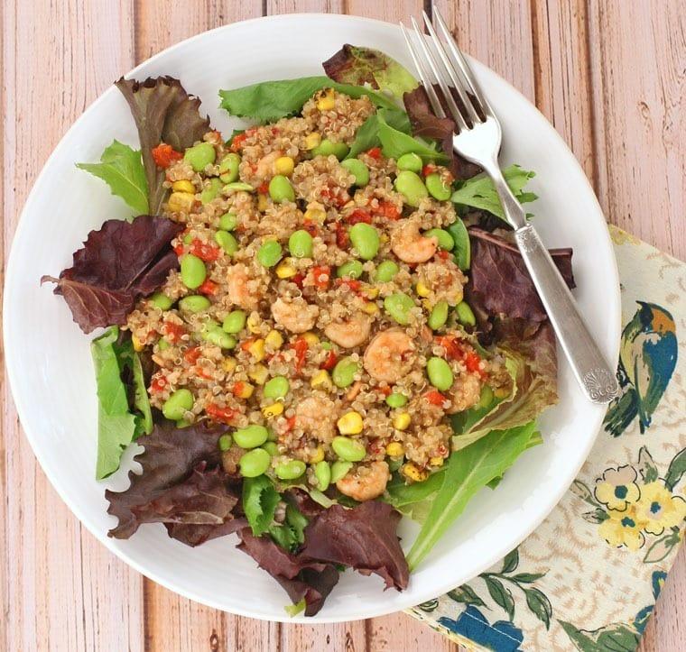 Quinoa, Edamame & Shrimp Salad with Balsamic Vinaigrette at This Mama Cooks! On a Diet - thismamacooks.com