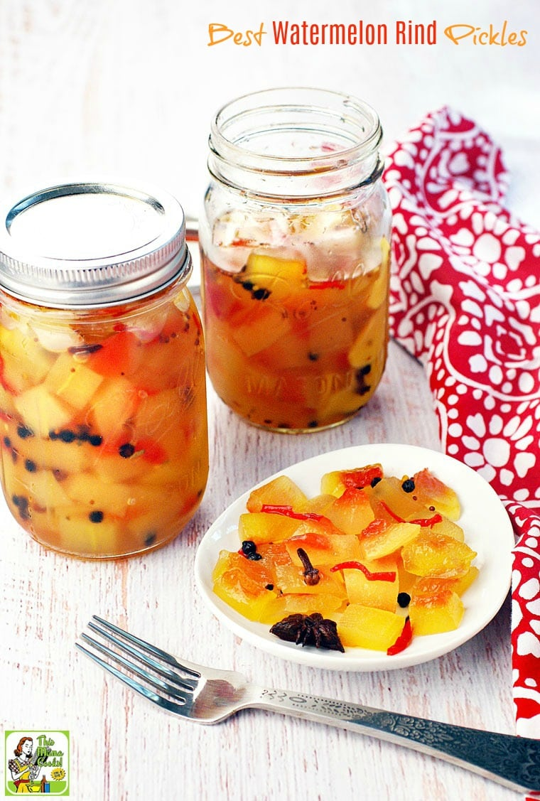 Two Mason Jars and a plate of Watermelon Rind Pickles