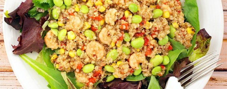 This Easy Quinoa and Shrimp Salad recipe is perfect for busy weeknights. Click to get this healthy, gluten free salad recipe that's packed with protein from shrimp, quinoa and edamame soybeans. Can be made in less than 40 minutes.
