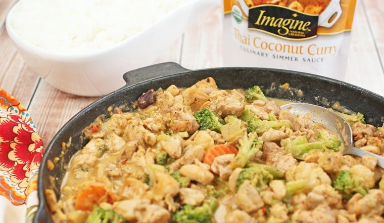 Dairy free and gluten free - Chicken and Vegetable Thai Coconut Curry at This Mama Cooks! On a Diet - thismamacooks.com #PanWithAPlan #ImagineNation #ad