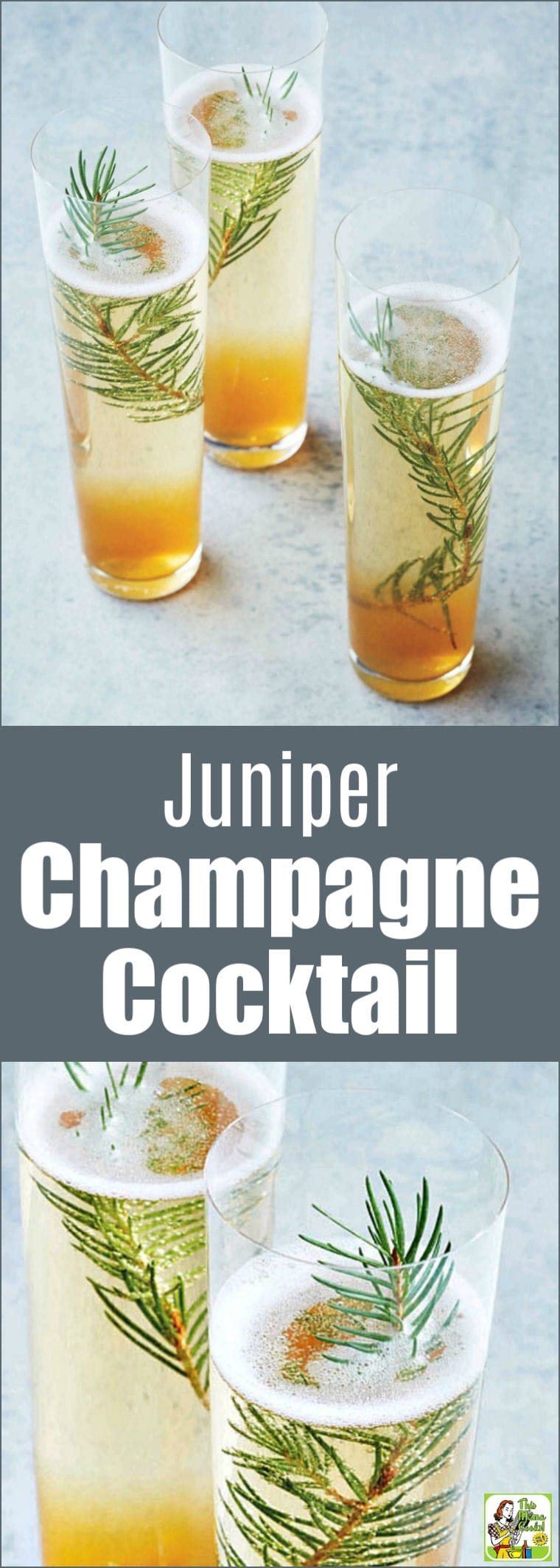 Ring in the New Year with a Juniper Champagne Cocktail! This unique champagne cocktail recipe uses simple syrup, crushed juniper berries, and a festive pine sprig. #cocktails #cocktailrecipes #drinks #drinking #champagne #recipe #recipes #newyears #newyearseve