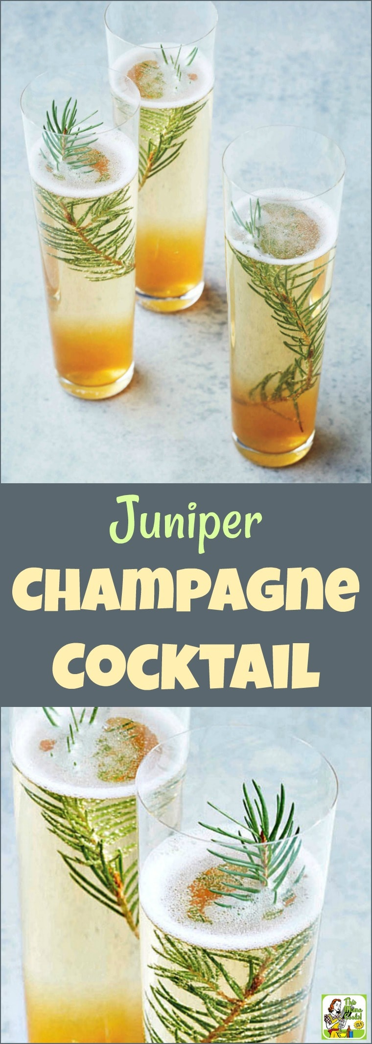Ring in the New Year\'s with a Juniper Champagne Cocktail! This unique champagne cocktail recipe uses simple syrup, crushed juniper berries and a sprig of festive pine sprig. #cocktails #champagne #recipe #easy #recipeoftheday #glutenfree #easyrecipes #brunch #newyears #newyearseve #drinking #drinks