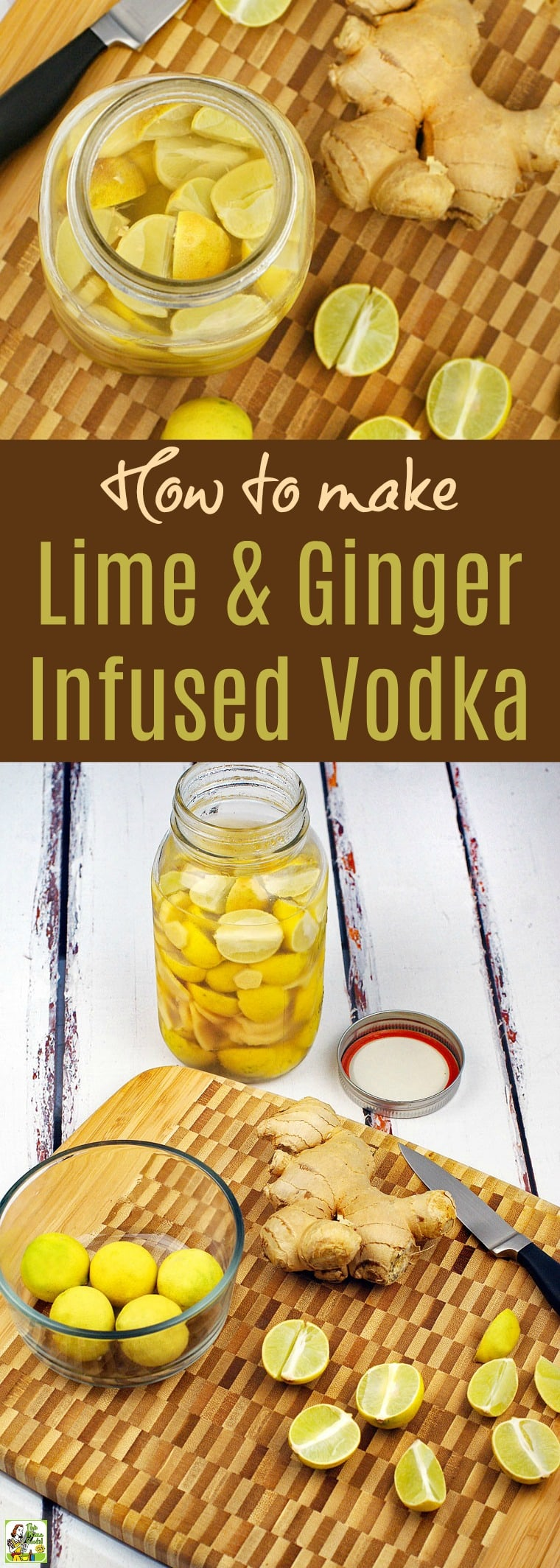Looking for infused vodka recipes? Learn how to make Lime & Ginger Infused Vodka. This homemade infused vodka recipe includes tips for making infused vodka into gifts. Also, includes ideas for infused vodka cocktail recipes. #recipe #easy #recipeoftheday #healthyrecipes #glutenfree #easyrecipes #lime #ginger #cocktails #cocktail #drinks #drinking #vodka #alcohol #homemade #homemadegifts #infusedvodka