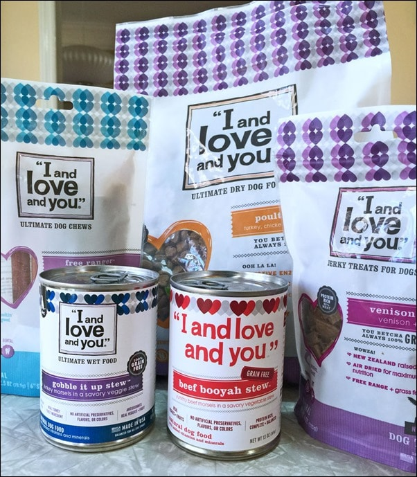 """The """"I and love and you"""" dog food products we were sent to try. Learn more at This Mama Cooks! On a Diet"""
