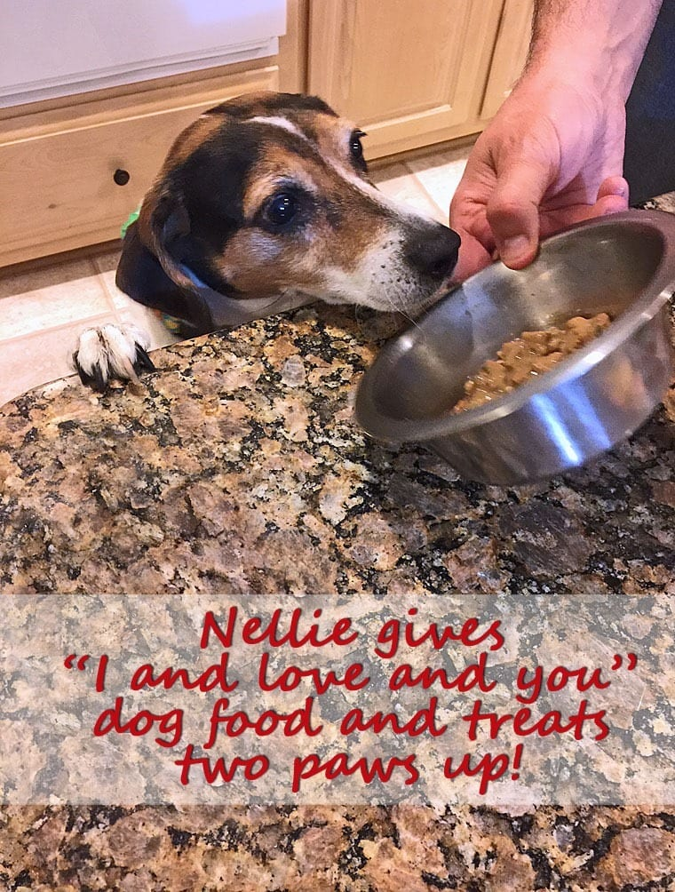 """Nellie gives """"I and love and you"""" dog food products two paws up! Learn more at This Mama Cooks! On a Diet"""
