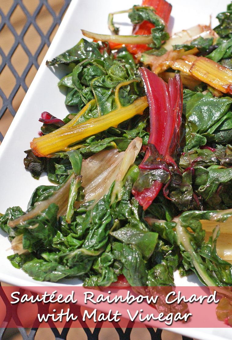Sautéed Rainbow Chard with Malt Vinegar. Get the vegetarian side dish recipe at This Mama Cooks! On a Diet