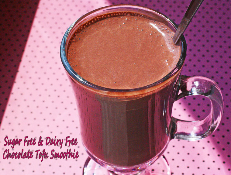 Sugar Free & Dairy Free Chocolate Tofu Smoothie. Get the healthy blender recipe at This Mama Cooks! On a Diet