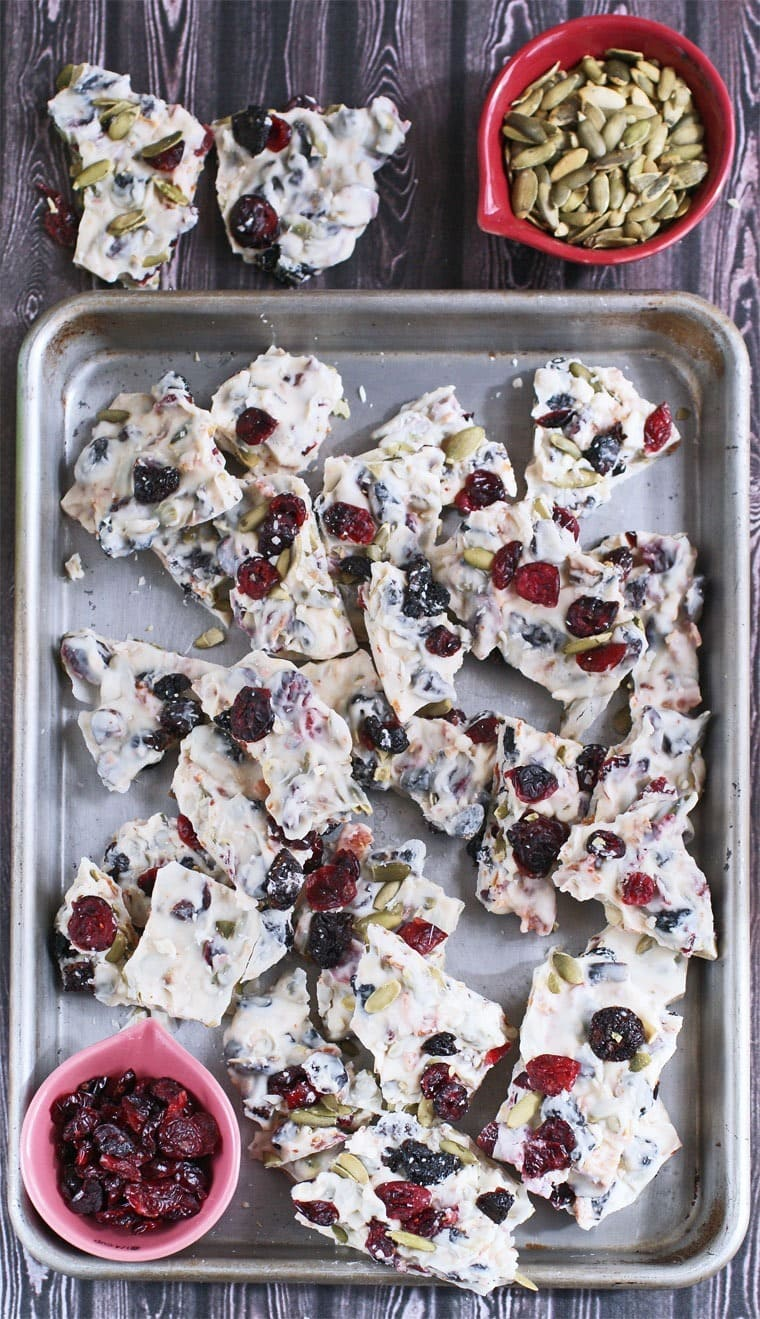 Vanilla Candy Bark with Dried Fruit, Pumpkin Seeds & Spicy Bacon Jerky makes a terrific homemade gift. Get the recipe at This Mama Cooks! On a Diet