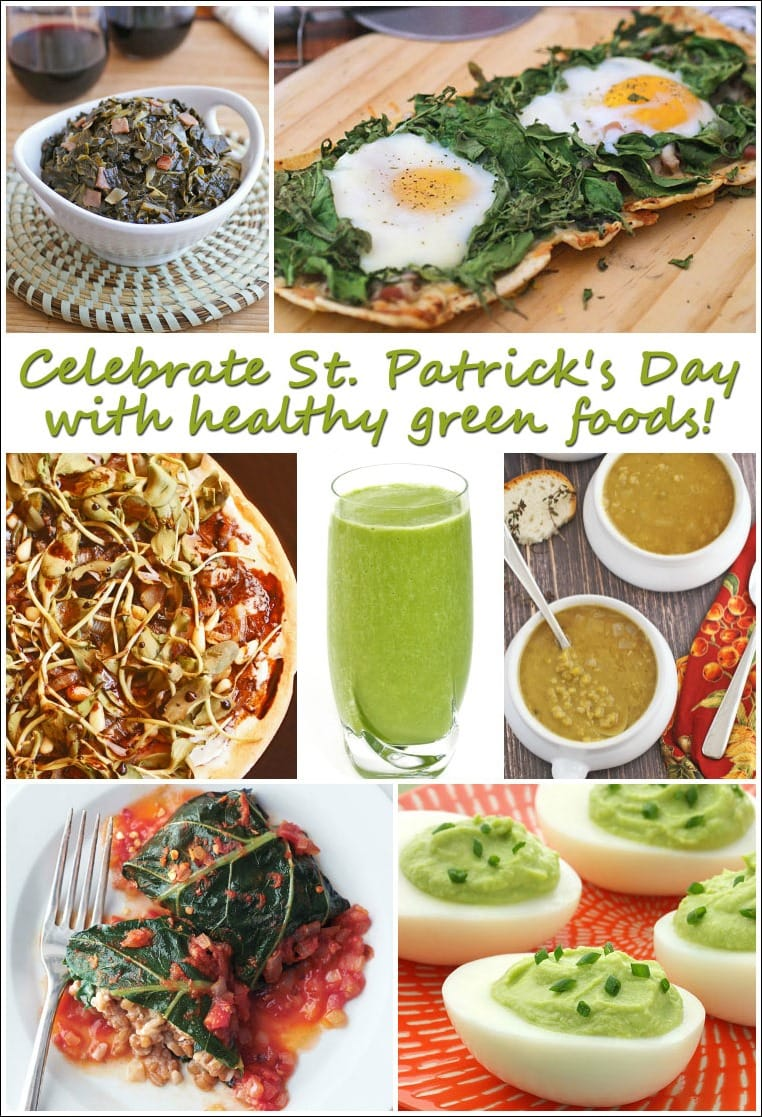 Celebrate St. Patrick's Day with healthy green foods! Get a list of healthy green food recipes at This Mama Cooks! On a Diet