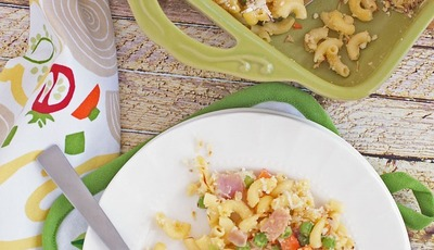 Gluten Free Mac & Cheese Casserole with Peas, Carrots & Ham