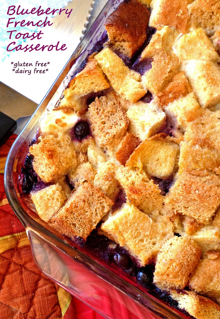 Blueberry French Toast Casserole - get the recipe for this gluten free and dairy free breakfast casserole at This Mama Cooks! On a Diet