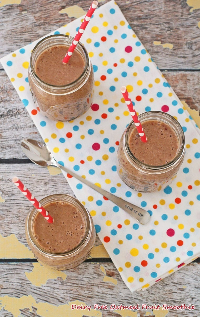 Dairy Free Oatmeal Fruit Smoothie - Get this healthy gluten free recipe at This Mama Cooks! On a Diet