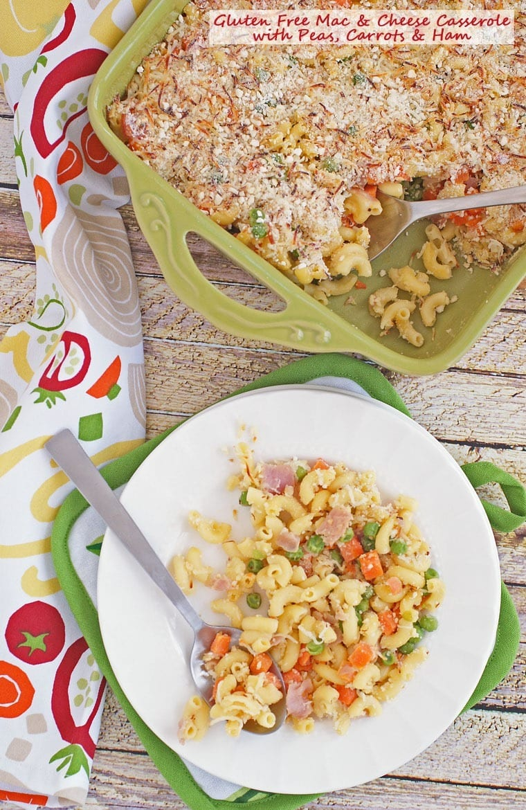 Get this recipe for Gluten Free Mac & Cheese Casserole with Peas, Carrots & Ham at This Mama Cooks! On a Diet