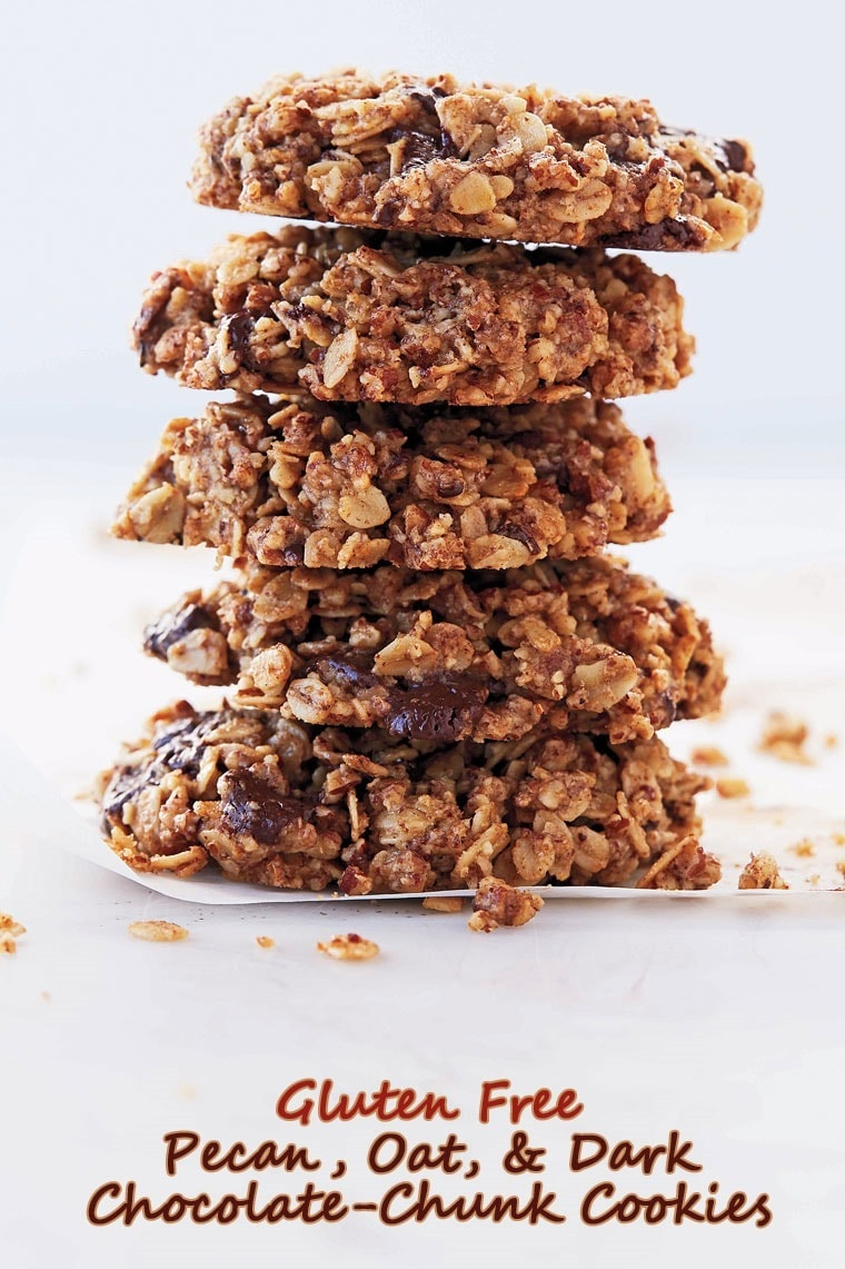 Get the recipe for Gluten Free Pecan, Oat, and Dark Chocolate-Chunk Cookies at This Mama Cooks! On a Diet
