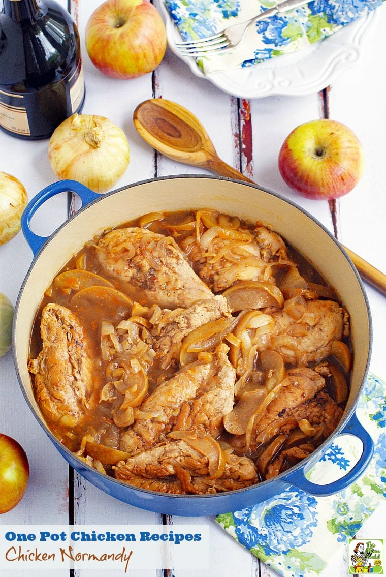 One Pot Chicken Recipes: Chicken Normandy à la Marie-Celine. Click to get this healthy and easy one pot chicken recipe.