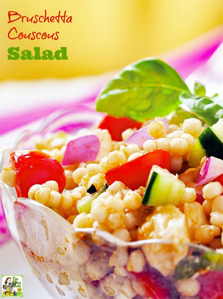 Bruschetta Couscous Salad recipe. Make this couscous vegetable salad for dinner. It's an easy-to-make healthy side dish for any dinner entree. Comes with a gluten free option with quinoa. #recipes #easy #recipeoftheday #healthyrecipes #glutenfree #easyrecipes #salad #saladrecipes #dinner #easydinner